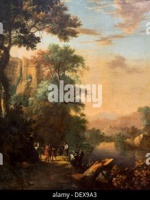 17th century  -  River Landscape with Saint Philippe Baptizing the Ethiopian Chamberlain, around 1640 - Herman van - Stock Photo