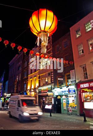 Chinatown at night, Soho, City of Westminster, London, England, United Kingdom - Stock Photo