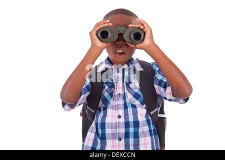 African American school boy using binoculars, isolated on white background - Black people - Stock Photo