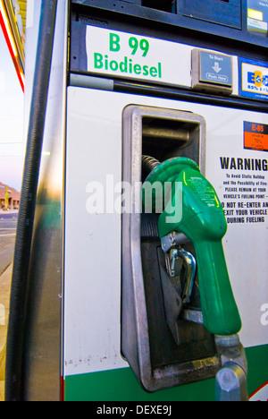 B99 biodiesel fuel pump at retail gasoline station, Tucson, Arizona - Stock Photo