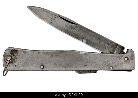 vintage pocket knife isolated over white background, clipping path - Stock Photo