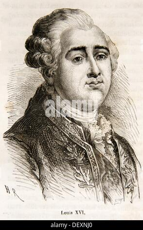 Louis XVI of France 23 August 1754 - 21 January 1793 ruled as King of France and Navarre from 1774 until 1791, and - Stock Photo