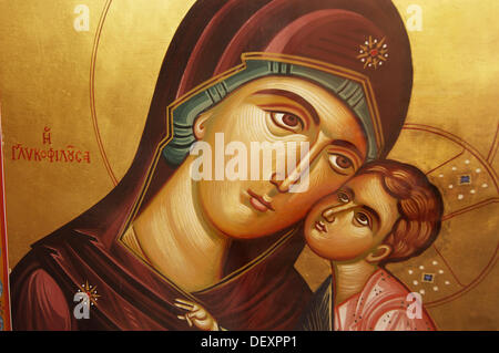 Icon of the Virgin Mary and Child over a chapel door near the Acropolis, Athens, Greece - Stock Photo