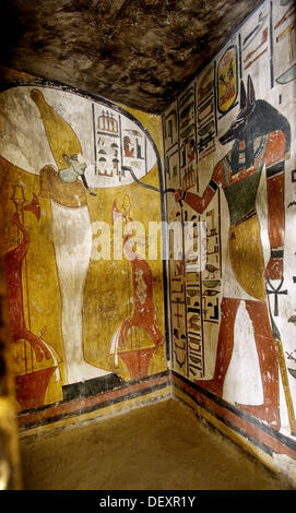 Mural paintings in the tomb of seti i valley of the kings for Ancient egyptian mural paintings