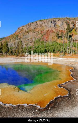 Emerald Pool, hot spring, Black Sand Basin, Yellowstone National Park, Wyoming, USA - Stock Photo