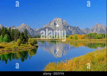 Mount Moran reflected in Snake River, Oxbow Bend, Grand Teton National Park, Wyoming, USA - Stock Photo