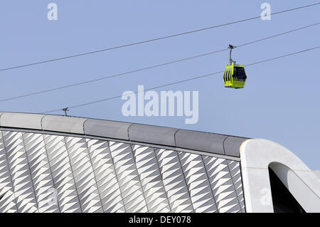 Cablecar and Bridge Pavilion designed by architect Zaha Hadid, Expo Zaragoza 2008. Zaragoza, Aragon, Spain - Stock Photo