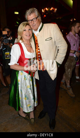 Munich, Germany. 24th Sep, 2013. Presentor couple Marianne and Michael during the Promi Wiesn Treff (celebrity Oktoberfest - Stock Photo
