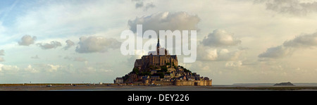 Clouds above the abbey on top of the rocky island Mont-Saint-Michel seen from the north, Basse-Normandie, France, - Stock Photo