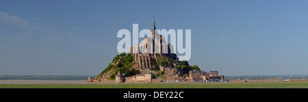 The abbey on top of the rocky island Mont-Saint-Michel seen from the south, Basse-Normandie, France, Europe - Stock Photo