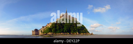 The abbey on top of the rocky island Mont-Saint-Michel seen from the north, Basse-Normandie, France, Europe - Stock Photo