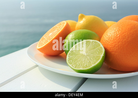 Oranges, lemons and limes by the coast - Stock Photo