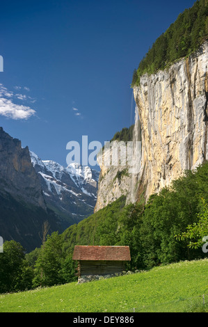 Lauterbrunnen with Staubbach Falls, Bernese Oberland, Canton of Bern, Switzerland, Europe - Stock Photo