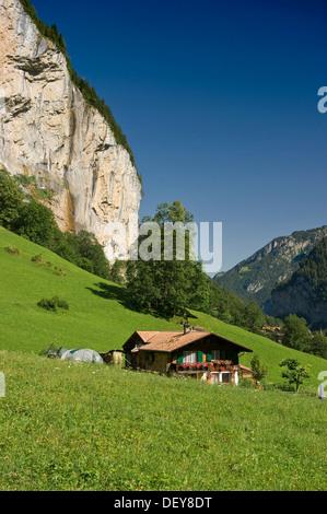 Lauterbrunnen Valley, Lauterbrunnen, Bernese Oberland, Canton of Bern, Switzerland, Europe - Stock Photo