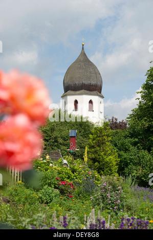 Monastery gardens on the island Frauenchiemsee or Fraueninsel, Chiemsee Lake, Chiemgau region, Bavaria - Stock Photo