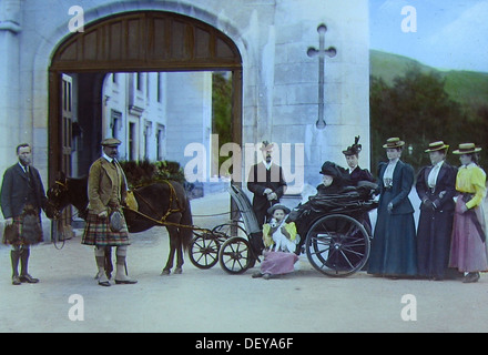 Queen Victoria in a donkey cart at Balmoral Castle Victorian period - Stock Photo