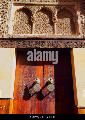 Typical moroccan door in the old medina of Fes, Morocco, Africa - Stock Photo