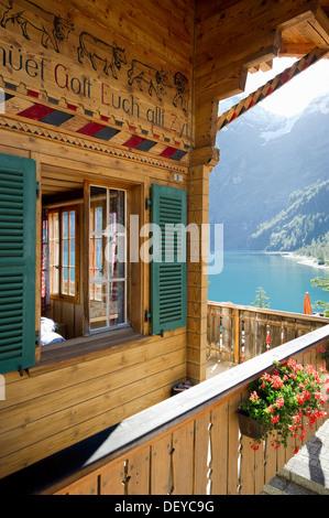 Log chalet at Oeschinensee, Oeschinen Lake, Bernese Oberland, Canton of Bern, Switzerland, Europe - Stock Photo