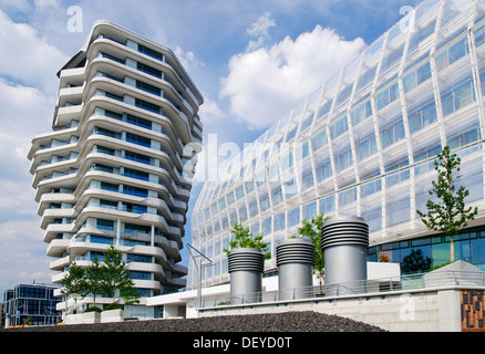 Modern residential and office buildings, Marco Polo Tower and German headquarters of Unilever in the Hafencity district, - Stock Photo