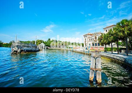 Vizcaya Museum and Gardens, Renaissance Italianate 1910, stone barge  Biscayne Bay  Miami  Florida  USA - Stock Photo