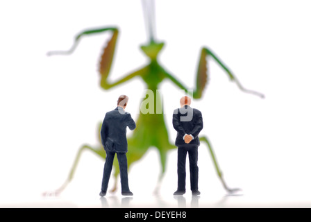 Miniature businessmen figures in front of a locust, symbolic image for hedge funds - Stock Photo