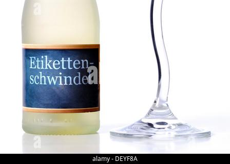 Champagne bottle, false labelling - Stock Photo