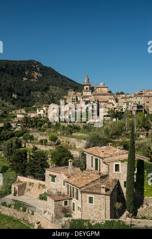 Town in the mountains, Valldemossa, Majorca, Balearic Islands, Spain - Stock Photo