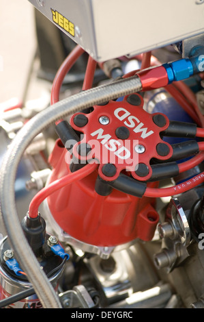 distributor cap plug leads ignition system on an internal combustion engine engines spark msd v8 high performance - Stock Photo