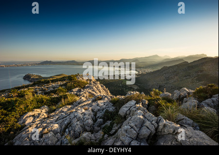 Bay and mountains in the evening light, Port de Pollenca, Majorca, Balearic Islands, Spain - Stock Photo