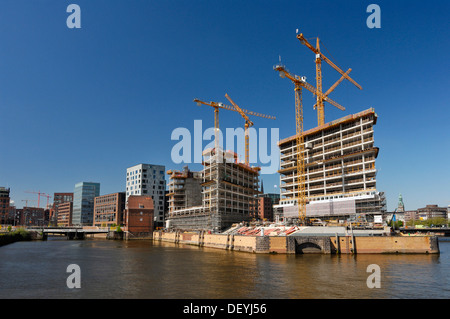 Construction site for the new Spiegel publishing house on Ericusspitze, Oberhafen harbour, Hamburg - Stock Photo