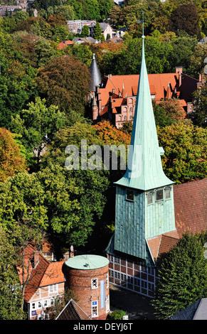 Saint Peter and Pauli church and castle in mountain village, Hamburg, Germany, Europe, St. Petri und Pauli Kirche - Stock Photo