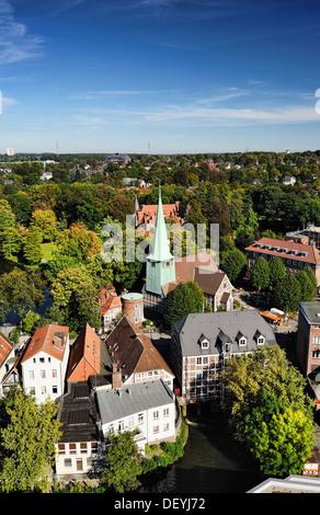 Aerial photo of mountain village, Hamburg, Germany, Europe, Luftaufnahme von Bergedorf, Deutschland, Europa - Stock Photo