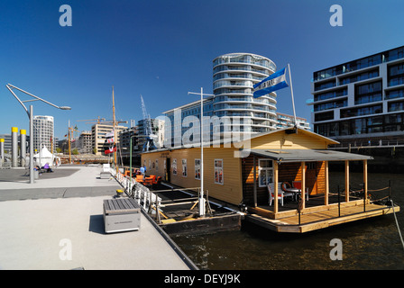 Houseboat in the traditional ship port, HafenCity, Hamburg - Stock Photo