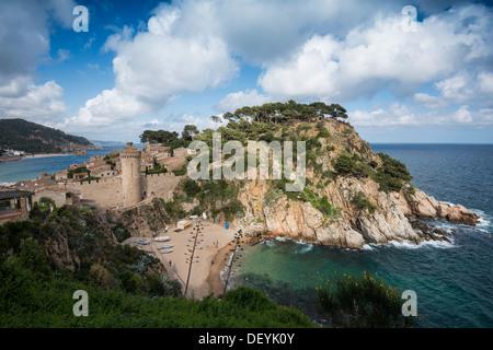 Town and castle by the sea, Tossa de Mar, Costa Brava, Catalonia, Spain - Stock Photo