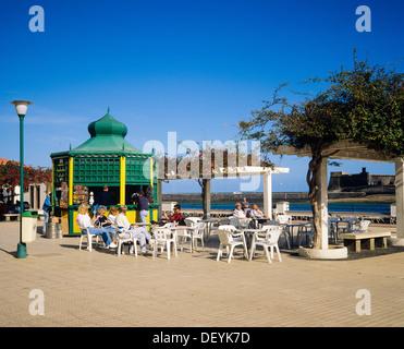 People at cafe terrace Arrecife Lanzarote Canary Islands Spain - Stock Photo