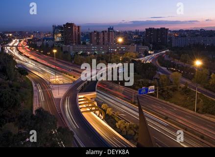 M-30 beltway at dusk, Madrid, Spain, Europe - Stock Photo