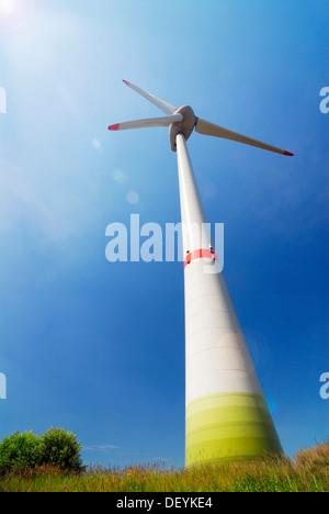 Wind turbine E-126, Enercon wind farm in Altenwerder, Hamburg - Stock Photo