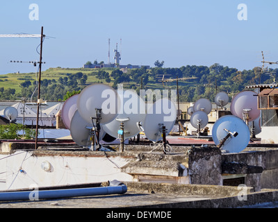 Satellite Dishes on the roofs of the old medina in Fes, Morocco, Africa - Stock Photo