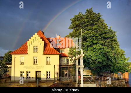 Rainbows in the Zollenspieker ferry boat-house in Kirchwerder, 4 and marshy land, Hamburg, Germany, Europe, Regenbogen - Stock Photo