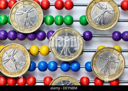 Slide rule with Italian eurocoins, debt crisis in Italy, Rechenschieber mit italienischen Euromünzen, Schuldenkrise - Stock Photo