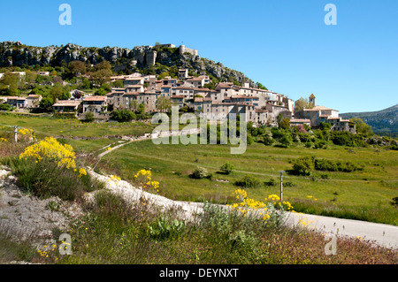 Village Trigance Grand Canyon Gorge du Verdon River France Provence - Stock Photo
