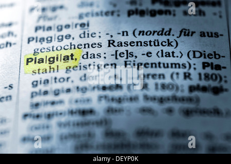 Definition of plagiarism in a German dictionary, Plagiat - Stock Photo