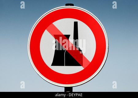 Sign, prohibition of nuclear power plants, montage - Stock Photo
