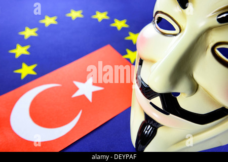 Turkey flag, EU flag and Occupy mask, Türkei-Fahne, EU-Fahne und Occupy-Maske - Stock Photo
