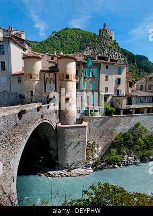 Entrevaux medieval city fortified by Vauban France Alpes de Haute Provence Citadel - Stock Photo