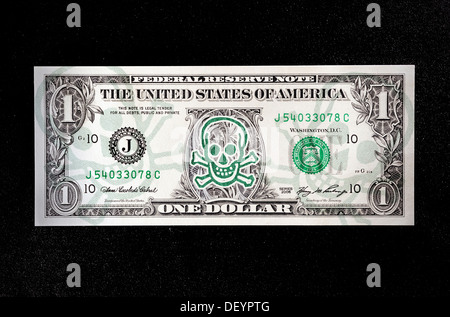 US dollar bill with skull, symbolic image for the impending bankruptcy of the USA - Stock Photo