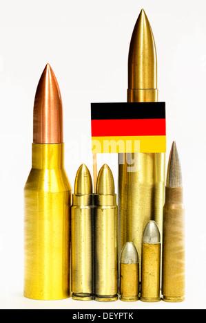 Ammunition with Germany flag, German armament exports, Munition mit Deutschlandfahne, deutsche Rüstungsexporte - Stock Photo