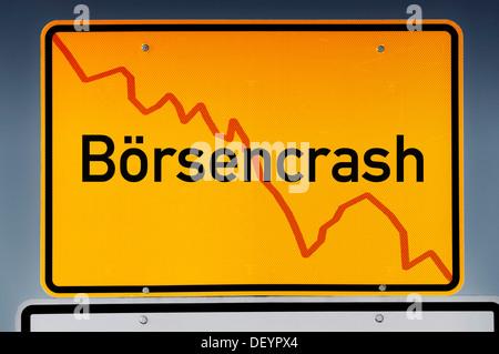 City limits sign 'Boersencrash' or stock market crash - Stock Photo