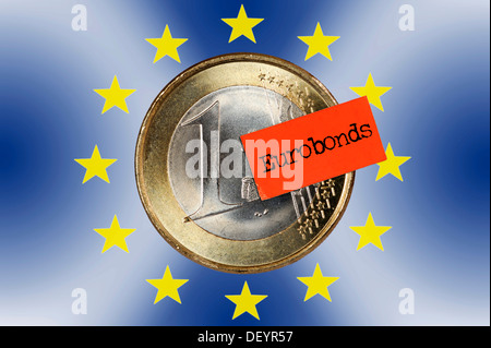 One euro coin with a price tag and Eurobonds logo - Stock Photo
