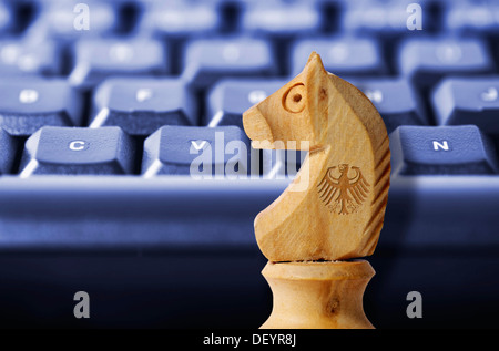 Knight Chess Piece On A Computer Keyboard Symbolic Image For The